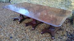120120183 Pedestal 19th Century Mahogany Antique Dining Table 94w 11½ feet w max 52d 28½ h with caster repair _29.JPG