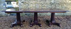 240120183 Pedestal 19th Century Mahogany Antique Dining Table 94w 11½ feet w max 52d 28½ h with caster repair _9.JPG