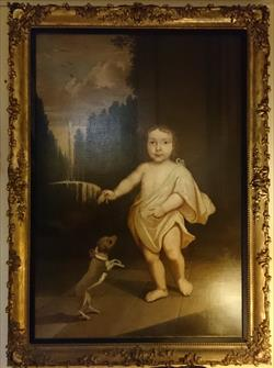 1901201818th century Aristocratic boy with Dog Oil Painting 43w 59h 3d _2.JPG