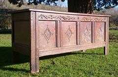 1902201817th Century William And Mary Period Oak Antique Coffer 23d 60w 26h _5.JPG
