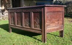 1902201817th Century William And Mary Period Oak Antique Coffer 23d 60w 26h _9.JPG