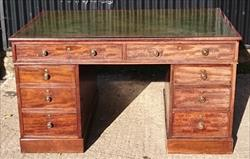 1803201919th Century Antique Pedestal Desk 35¾ d 54¼ w 30 h kneehole 22w 24h _1.JPG