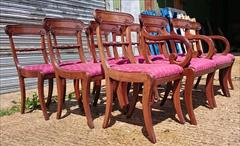 0607201912 early 19th century Regency mahogany antique dining chairs the carver 22w 34h 18hs 21d the singles 18w 34h18hs 19½d _4.JPG