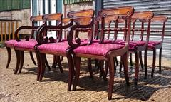 0607201912 early 19th century Regency mahogany antique dining chairs the carver 22w 34h 18hs 21d the singles 18w 34h18hs 19½d _8.JPG