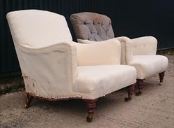 1510201919th Century Pair of Antique Howard and Sons Turned Leg Bridgewaters 27w 27d frame 37d _5.JPG