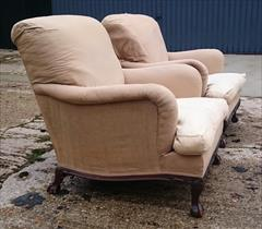 101220191910 Pair of Antique Howard and Sons Armchairs 36d max 31d frame 27½w frame 30w max arms 17hs 35h max _12.JPG