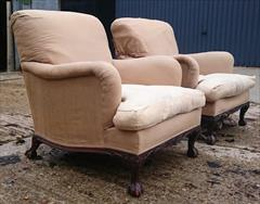 101220191910 Pair of Antique Howard and Sons Armchairs 36d max 31d frame 27½w frame 30w max arms 17hs 35h max _15.JPG