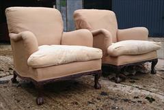 101220191910 Pair of Antique Howard and Sons Armchairs 36d max 31d frame 27½w frame 30w max arms 17hs 35h max _16.JPG
