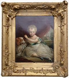 Antique oil painting of a little boy and dog.jpg