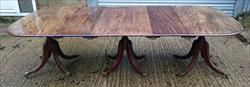 1810 Three Pedestal Antique Dining Table 28h 48½d 103w leaves 13¾ ends 28¼ middle 24¾ _1.JPG