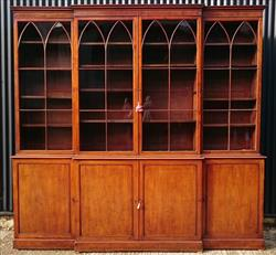 18th Century George III Period Mahgoany Breakfont Bookcase 99h 104w 20d _20.JPG