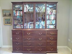 George III mahogany and glazed antique breakfront secretaire bookcase.jpg