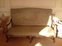 French walnut upholstered antique settle.jpg