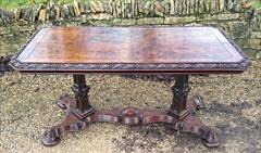 Antique Oak Library Table 27halfd 56w 27h 1.JPG