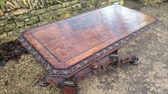 Antique Oak Library Table 27halfd 56w 27h 5.JPG