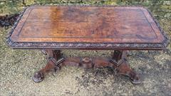 Antique Oak Library Table 27halfd 56w 27h 6.JPG