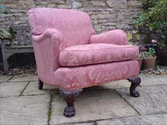Howard and Sons antique armchair - Bridgewater model with Ramsden leg carving.jpg