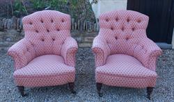 Howard and Sons button back antique armchairs.jpg