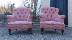 Howard and Sons button back antique armchairs1.jpg