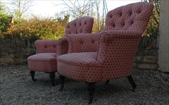 Howard and Sons button back antique armchairs2.jpg