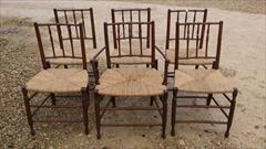 Set of 6 Antique Rush Seated Spindle Back Yew-wood Antique Dining Chairs1.jpg