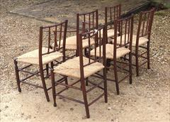 Set of 6 Antique Rush Seated Spindle Back Yew-wood Antique Dining Chairs4.jpg