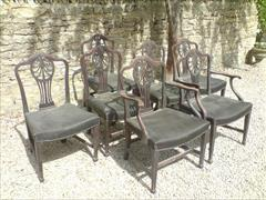 set of 7 totally original antique mahogany George III period dining chairs2.jpg