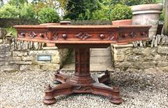 Antique Centre Table Oak Gothic 51 wide 29 high _3.JPG