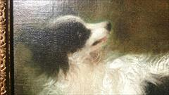 Antique Oil Painting Girl With Dog _11.JPG