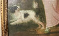 Antique Oil Painting Girl With Dog _2.JPG