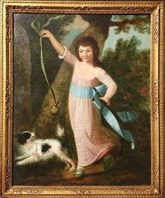 Antique Oil Painting Girl With Dog _8.JPG