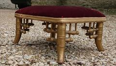 Antique Stool Faux Bamboo Gold 11½w 10d 6h _3.JPG