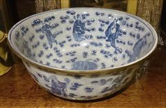 Antique Punch Bowl Chinese Export 14w 6h _1.JPG