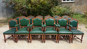 Set of 18 oak dining chairs made by Thomas Fox and  Co London